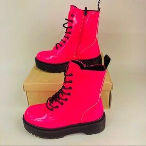 Yoki Combat Patent Boots Kenzo-28 Neon Pink 7 New
